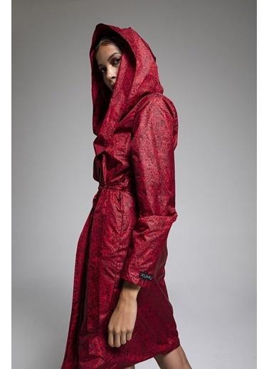 XUMU XUMU Fraction Kapüşonlu Kadın Yağmurluk Kırmızı